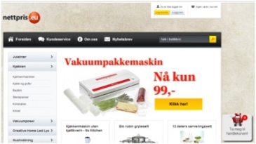 Eksempel fra sidene til Nettpris.eu (som de heter på nett)